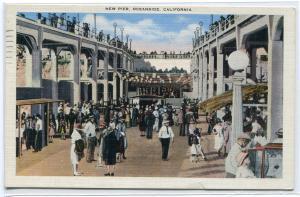 New Pier Crowd Oceanside San Diego California 1942 postcard