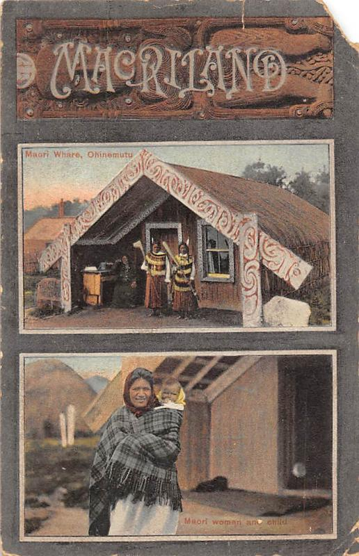 New Zealand Macriland Maori Whare Ohinemutu, Native Woman with child