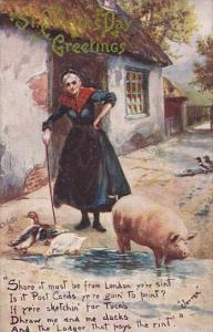 Saint Patricks Day Woman With Ducks and Pig 1909 Tucks