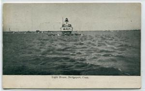 Lighthouse Bridgeport Connecticut 1907c postcard
