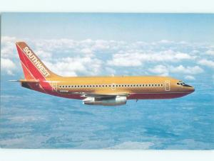 Pre-1980 Postcard Ad SOUTHWEST AIRLINES BOEING 737-200 AIRPLANE AC6253