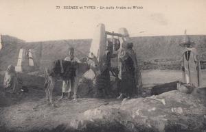 Un puits Arabe au M'ZAB, Algeria ,1900-1910s ; Water well, donkey