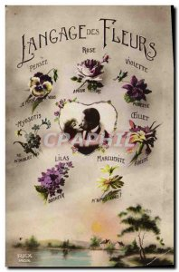 Old Postcard Fancy Language of Flowers Woman