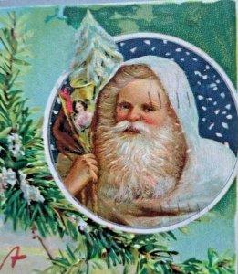 Santa White Coat Christmas Postcard Tucks Original 136 Embossed 1910 Vintage