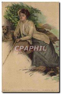 Old Postcard Illustrator Female Dog Rifle Paul Heckscher