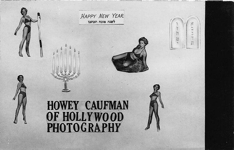 Hollywood CA Howey Caufman Photography Jewish New Year 1955 RPPC Postcard