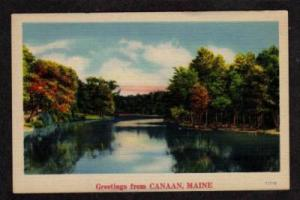 ME Greetings from CANAAN MAINE PC Linen Postcard