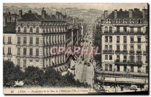 Old Postcard Lyon Perspective De La Rue I & # 39Hotel Town and hillside of th...