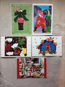 Full Set of 5 Coca Cola 1998 Christmas/Holiday Postcards Unused Excellent