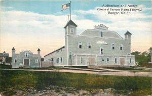 Bangor ME~Annex & Flag Over Easter Maine Festival Home, Auditorium~1911 Postcard