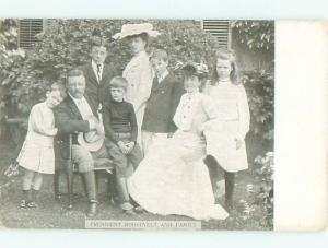 Pre-1907 patriotic PRESIDENT THEODORE ROOSEVELT WITH HIS FAMILY W6230