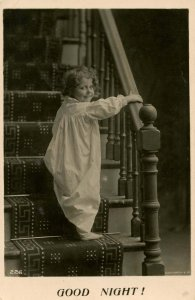 Children - Good Night!   Girl on Stairway       *RPPC