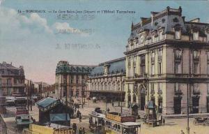 La Gare Saint-Jean (Depart) Et l´Hotel Terminus, Trolleys, Bordeaux (Gironde...