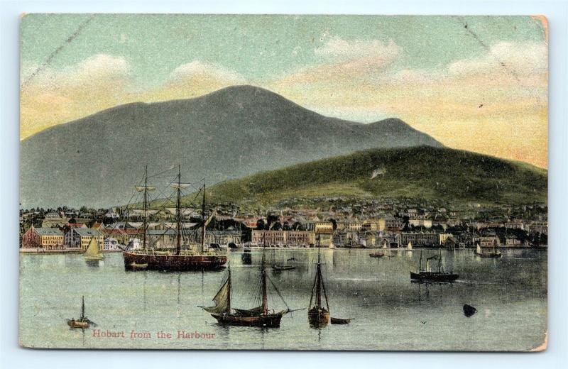 Postcard Tasmania Hobart from the Harbour c1915 View  K11