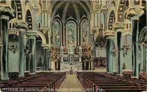 Tampa Florida~Interior~Catholic Church of the Sacred Heart~Pillars~Pews~1912 PC