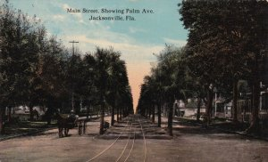 Florida Jacksonville Main Street Showing Palm Avenue 1912 sk369