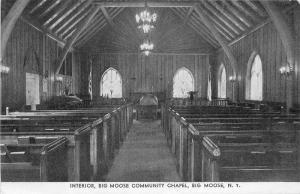 1920s Big Moose New York Interior Community Chapel Eagle postcard 12157