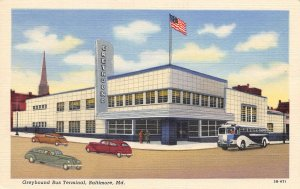 Greyhound Bus Depot Terminal Baltimore Maryland linen postcard