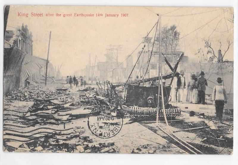 Jamaica Island King Street After Earthquake 1907 Burnt Trolley Disaster Postcard