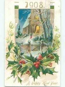Divided-Back NEW YEAR SCENE Great Postcard W7516