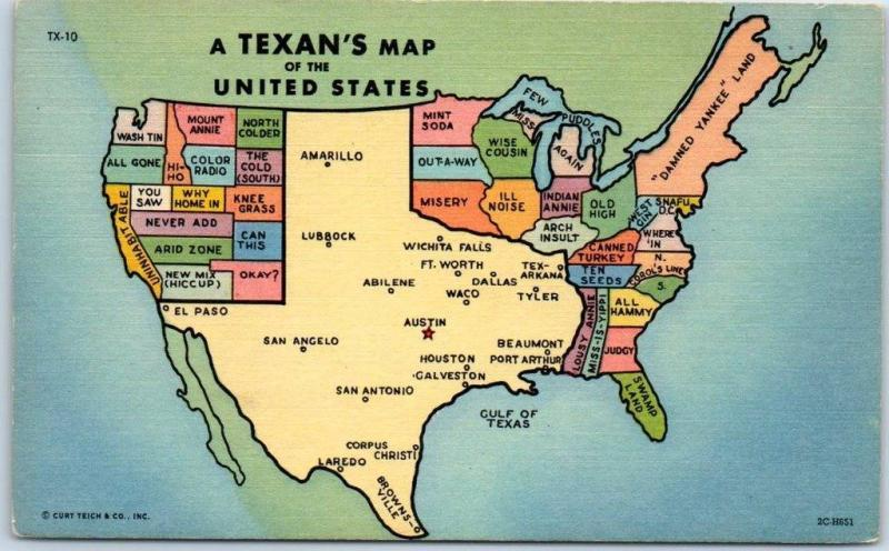 View Map Of United States.Texas Comic State Map Postcard Texan S View Of The United States