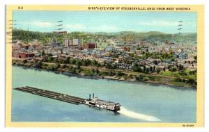 1947 Bird's-Eye View of Steubenville, OH Postcard *5N22