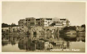 egypt, ASWAN, Cataract Hotel from the Nile (1920s) RPPC Postcard (1)