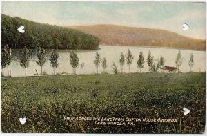 View across lake from Clifton House Grounds - Lake Winola, Pennsylvania DB