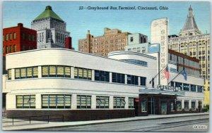 Cincinnati, Ohio Postcard GREYHOUND BUS TERMINAL Art Deco Bldg. Linen 1940s