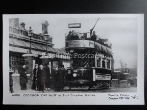 London Tram CROYDON CAR 39 AT EAST CROYDON STATION Pamlin Print Postcard M3103
