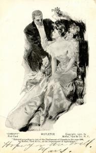Mistletoe - Artist: Howard Chandler Christy.   Christy Card  (Romance)