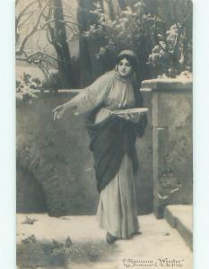 rppc Pre-1907 Woman Feeding Birds PAINTING ON POSTCARD AC8041