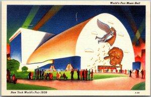 1939 NEW YORK WF Expo Postcard World's Fair Music Hall Mural View Linen Unused