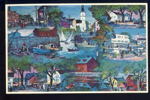 Rockport. Massachusetts/Mass/MA Postcard, Montage Of Bearskin Neck/Mill Square