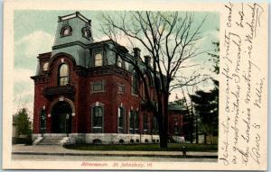 St. Johnsbury, Vermont Postcard Athenaeum Building / Street View - 1905 Cancel
