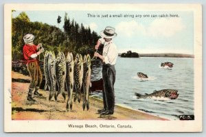 Wasaga Beach ON Exaggerated~Aunt Aggie Left Some Fish For Bill to Catch~1942 PC