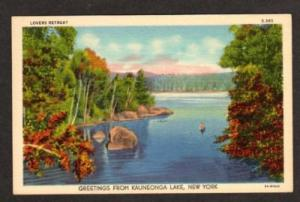 NY Greetings from KAUNEONGA LAKE NEW YORK Postcard