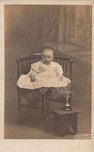 Baby With Silver Trophy Christening Cup Antique Postcard
