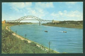 Cape Cod Canal Bourne Massachusetts Bridge Posted w/ Writing on Back Postcard
