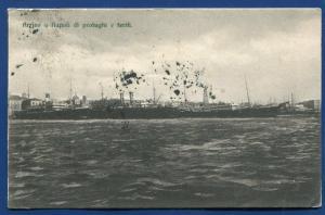 Arrivo a napolidi di profughi e feriti Italy Harbor steamer postcard
