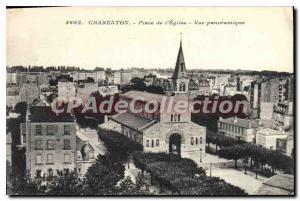 Postcard Old Place De Charenton I'Eglise Panoramic