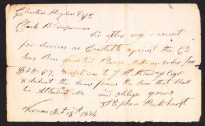 Vernon NY  -Stephen Parkhurst regarding payment for services as Constable - 1834