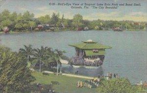 Florida Orlando Birds Eye View Of Tropical Lake Eola Park And BAnd Shell The ...