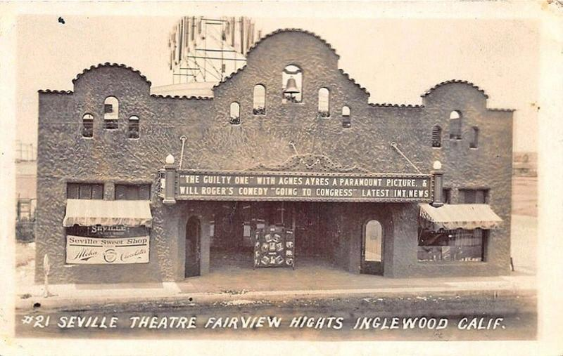 Inglewood CA Seville Theatre Fairview Hights Marquee RPPC Postcard