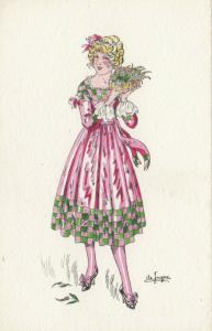 ART DECO ; Female wearing pink/green dress holding box of flowers, 1910-20s
