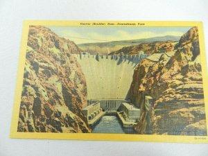 Vintage Postcard NV Hoover Boulder Dam Downstream Face