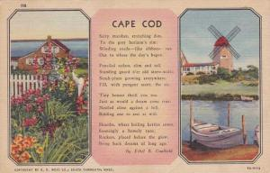 Scenes on Cape Cod Massachusetts - Poem by Ethel B. Caulfield - DPO 1955 - Linen