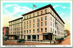 Bangor, Maine Postcard THE PENOBSCOT EXCHANGE HOTEL Street View c1920s Unused