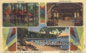 Phillips Moon Beach resort, Eagle River, Wisconsin, WI USA Hotel Postcard Mot...