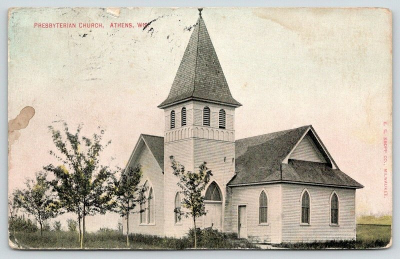 Athens Wisconsin~Presbyterian Church~Out in the Middle of Nowhere~1910 Postcard